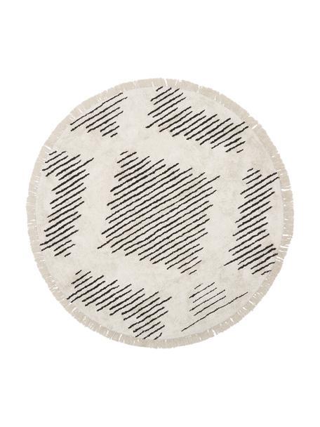 Rond boho katoenen vloerkleed Lines met franjes, handgetuft, 100% katoen, Beige, zwart, Ø 120 cm (maat S)