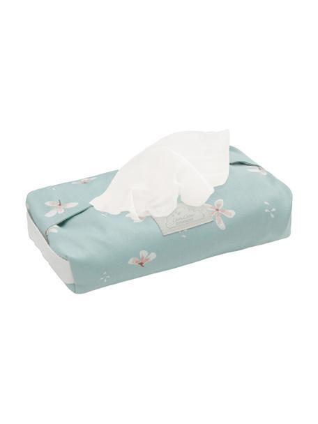 Estuche toallitas de algodón ecológico Wildflower, Funda: 100%algodón ecológico, Asa: 100%lino, Azul claro, crema, rosa, An 25 x Al 5 cm