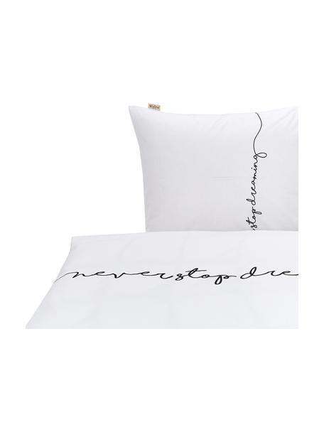 Pościel z bawełny Never Stop Dreaming, Biały, czarny, 135 x 200 cm + 1 poduszka 80 x 80 cm