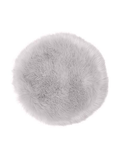 Runde Kunstfell-Sitzauflage Mathilde, glatt, Vorderseite: 65% Akryl, 35% Polyester, Rückseite: 100% Polyester, Hellgrau, Ø 37 cm