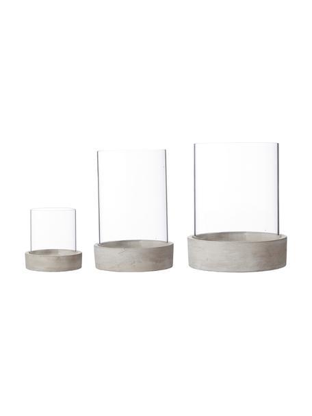 Windlichtenset Siri, 3-delig., Windlicht: glas, Voetstuk: beton, Grijs, Set met verschillende formaten