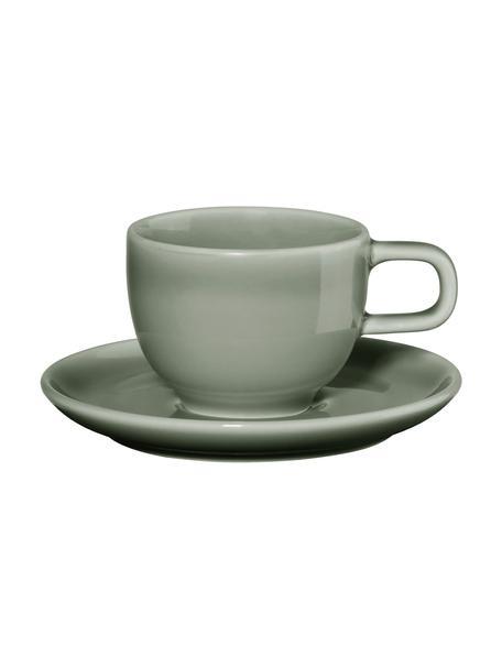 Porseleinen espressokopjes Kolibri met schoteltje  in glanzend grijs, 6 stuks, Porselein, Grijs, Ø 6 x H 6 cm