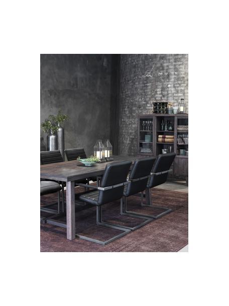 Großer Massivholz Esstisch Brooklyn, Massives Eichenholz, gebeizt und klarlackiert, Eichenholz, schwarz lackiert, B 220 x T 95 cm