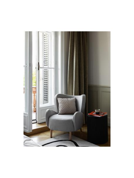Fauteuil Kalia in lichtgrijs, Bekleding: 100% polyester, Poten: beukenhout, Frame: metaal, Geweven stof lichtgrijs, 78 x 80 cm