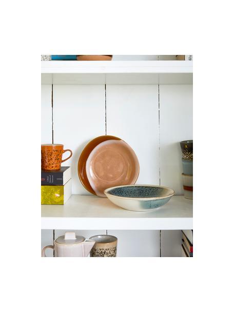 Handgemachte Schalen 70's, 2 Stück, Steingut, Beige, Orangetöne, 21 x 5 cm