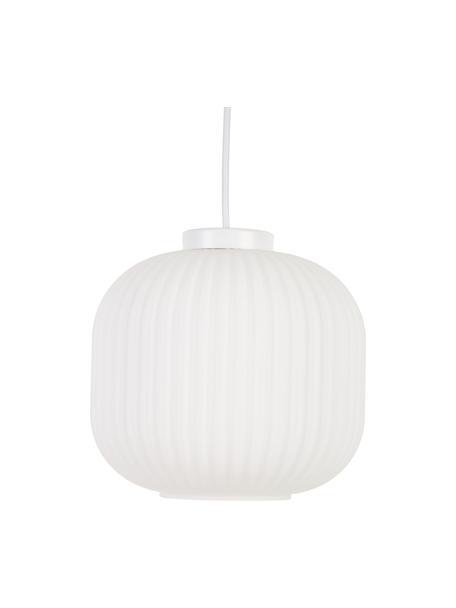 Kleine Pendelleuchte Geneva aus Glas, Lampenschirm: Glas, Baldachin: Kunststoff, Weiß, Ø 21 x H 19 cm