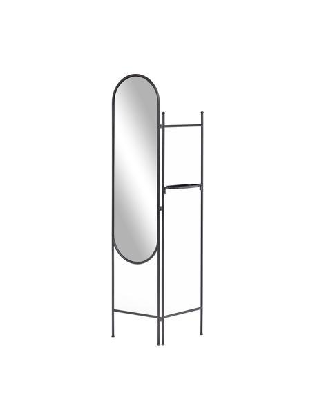 Specchio ovale da terra con cornice e ripiano nero Vaniria, Cornice: metallo rivestito, Superficie dello specchio: lastra di vetro, Nero, Larg. 82 x Alt. 183 cm