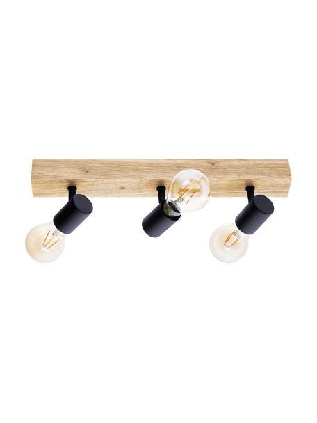 Lampa sufitowa z drewna Townshend, Czarny, drewno naturalne, S 48 x W 13 cm