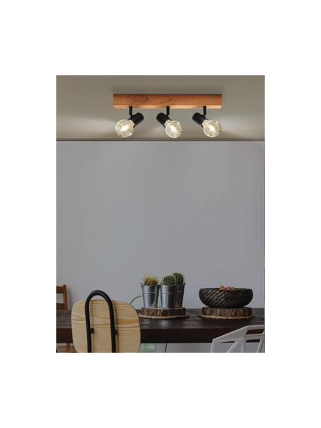 Plafondspot Townshend van hout, Baldakijn: hout, Zwart, houtkleurig, 48 x 13 cm