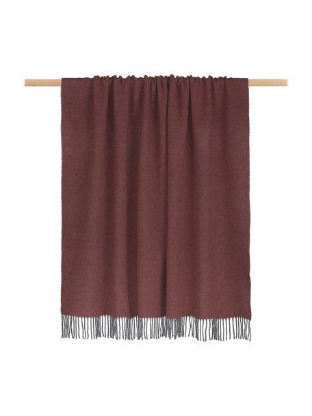 Plaid in cashmere Liliana, 80% lana, 20% cashmere, Rosa rosso, grigio, Larg. 130 x Lung. 170 cm