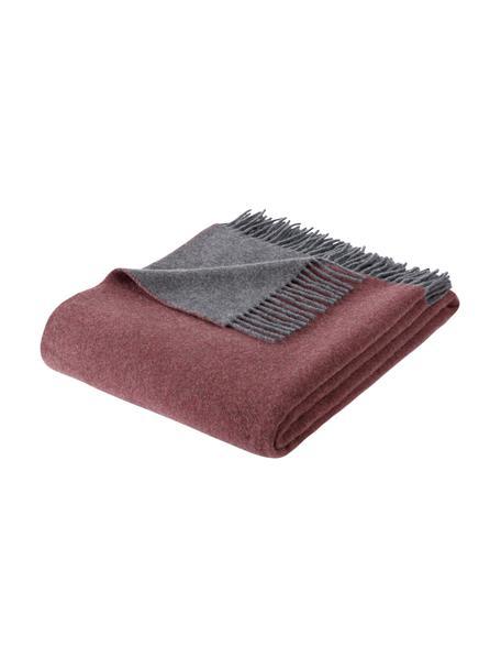 Plaid in cashmere rosso ruggine/grigio Liliana, 80% lana, 20% cashmere, Rosso ruggine, grigio, Larg. 130 x Lung. 170 cm