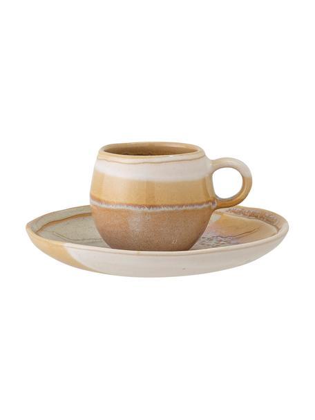 Handgefertiges Espressotasse April mit Untertasse und effektvollen Farbverläufen, Steingut Eine Hälfte glasiert, eine Hälfte naturbelassen, was den Charakter der Handwerkskunst hervorhebt., Gelbtöne, Ø 15 x H 6 cm