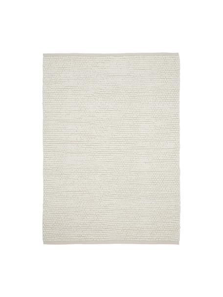 Alfombra de lana Pebble, 80%lana de Nueva Zelanda, 20%nylon, Blanco, An 80 x L 150 cm (Tamaño XS)