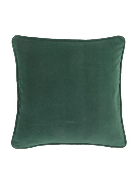 Federa arredo in velluto verde smeraldo Dana, 100% velluto di cotone, Verde smeraldo, Larg. 40 x Lung. 40 cm