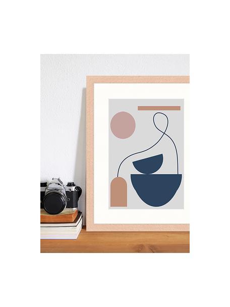 Ingelijste digitale print Abstract Composition, Afbeelding: digitale print op papier,, Lijst: gelakt hout, Multicolour, 33 x 43 cm