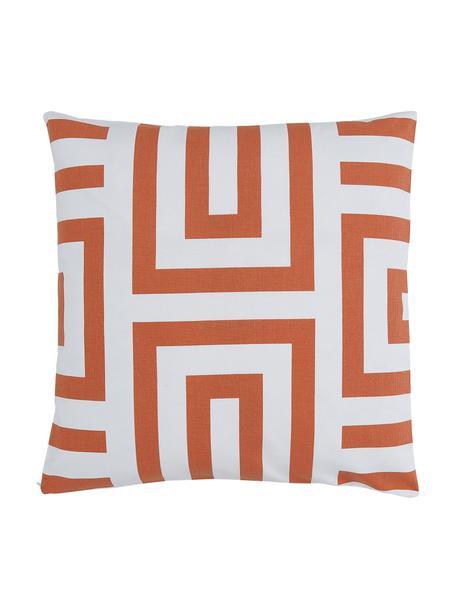 Kissenhülle Bram in Orange/Weiß mit grafischem Muster, 100% Baumwolle, Weiß, Orange, 45 x 45 cm