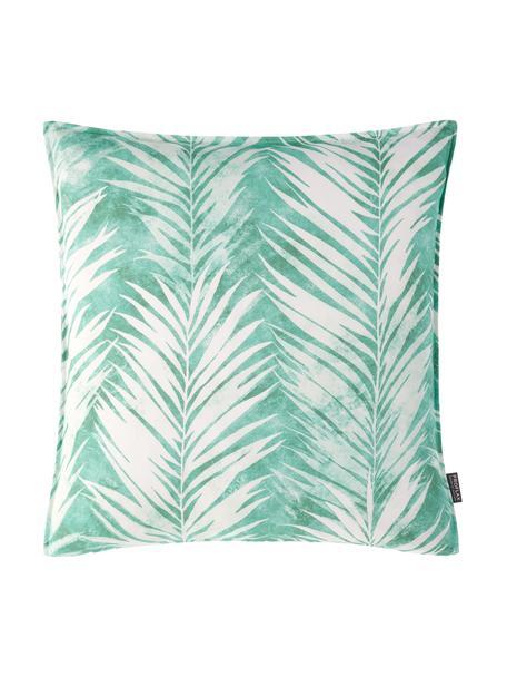 Federa arredo con motivo tropicale Pucca, 100% cotone, Bianco, verde giada, Larg. 40 x Lung. 40 cm