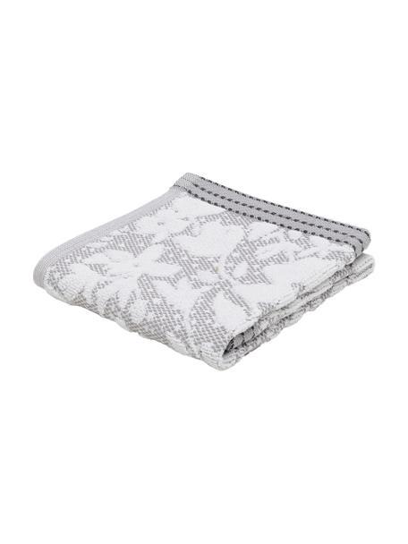 Asciugamano con motivo floreale Matiss, Bianco, grigio argento, Asciugamano per ospiti