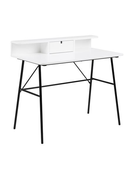 Schreibtisch Pascal in Weiss mit Schublade , Beine: Metall, lackiert, Tischplatte und Aufbau: Mitteldichte Holzfaserpla, Schwarz, Weiss, B 100 x T 55 cm