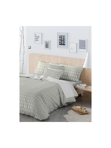 Dubbelzijdig dekbedovertrek Vale, Katoen, Bovenzijde: lichtbruin, wit. Onderzijde: wit, 140 x 200 cm