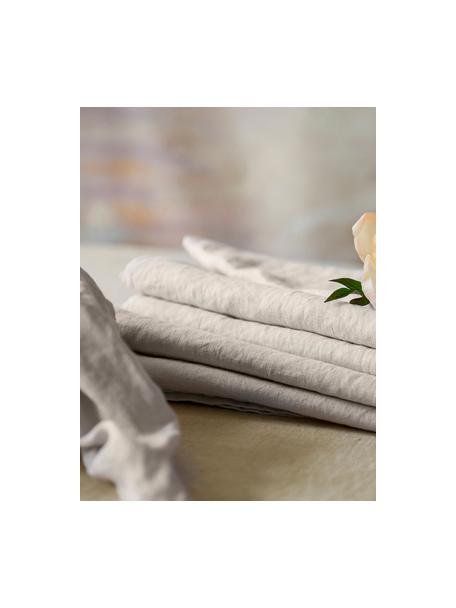 Servilletas de lino Sunshine, 4uds., Lino, Blanco ceniza, An 45 x L 45 cm