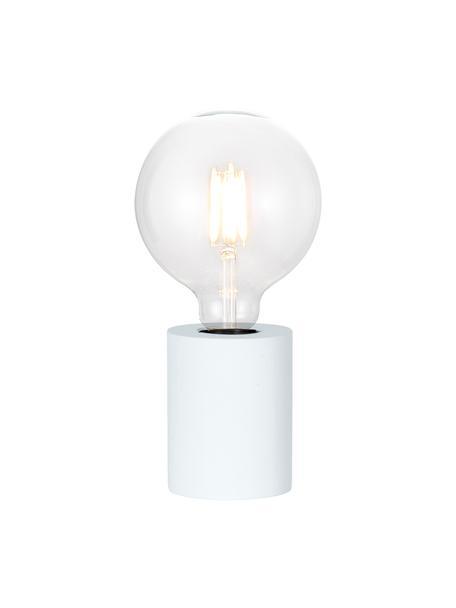 Kleine tafellamp Tub van hout, Lampvoet: gecoat hout, Wit, Ø 8 x H 10 cm