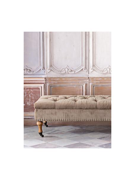 Banco tapizado en terciopelo Arlette, con espacio de almacenamiento, Tapizado: terciopelo, Patas: madera de pino, Beige, An 110 x Al 40 cm