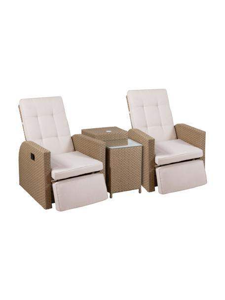 Set lounge para exterior Umbre, 4pzas., Tapizado: 100%poliéster, Tablero: vidrio, Beige, Set de diferentes tamaños