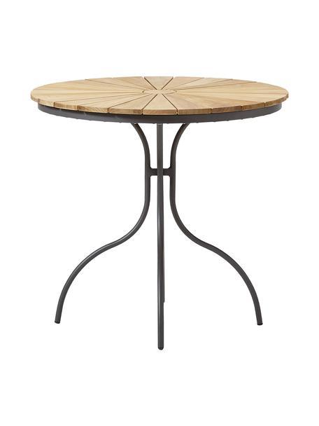 Tavolo rotondo da giardino con piano in legno di teak Hard & Ellen, Struttura: alluminio verniciato a po, Antracite, teak, Ø 80 x Alt. 72 cm