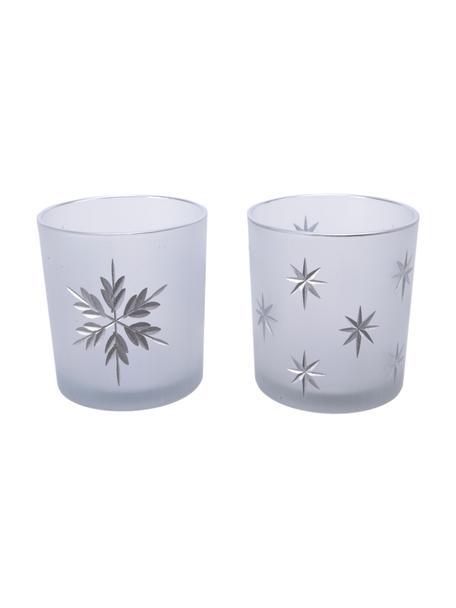 Waxinelichthoudersset Stera, 2-delig, Glas, Wit, zilverkleurig, Ø 7 x H 8 cm