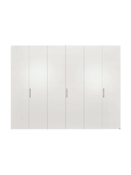 Kleiderschrank Madison in Weiß, 6-türig, Korpus: Holzwerkstoffplatten, lac, Ohne Spiegeltür, 302 x 230 cm