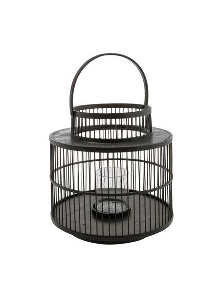 Handgemaakt windlicht Torino, Frame: gelakt bamboehout, Windlicht: glas, Zwart, Ø 28 x H 30 cm