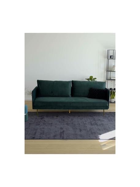 Sofá cama de terciopelo Lauren, plegable, Tapizado: terciopelo (poliéster) Al, Estructura: madera de pino, Patas: metal pintado, Terciopelo verde oscuro, An 206 x Al 87 cm