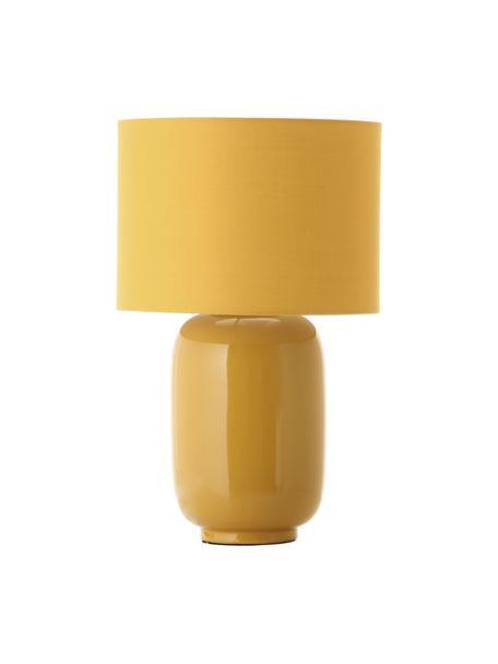 Lampada da comodino in ceramica Cadiz, Paralume: tessuto, Base della lampada: ceramica, Giallo, Ø 28 x Alt. 43 cm