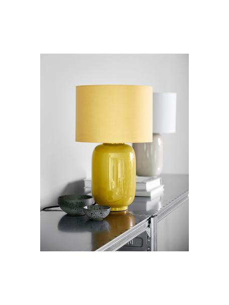 Lámpara de noche de cerámica Cadiz, Pantalla: tela, Cable: cubierto en tela, Amarillo, Ø 28 x Al 43 cm