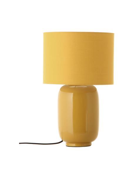 Keramische tafellamp Cadiz in mosterdgeel, Lampenkap: stof, Lampvoet: keramiek, Geel, Ø 28 x H 43 cm