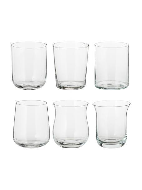 Mondgeblazen waterglazen Diseguale in verschillende vormen, 6 stuks, Mondgeblazen glas, Transparant, Ø 8 x H 10 cm