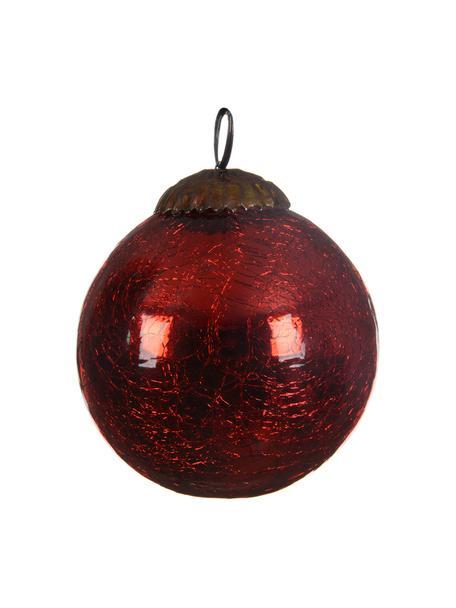 Set 3 palline di Natale Craquele, Rosso, Ø 8 cm