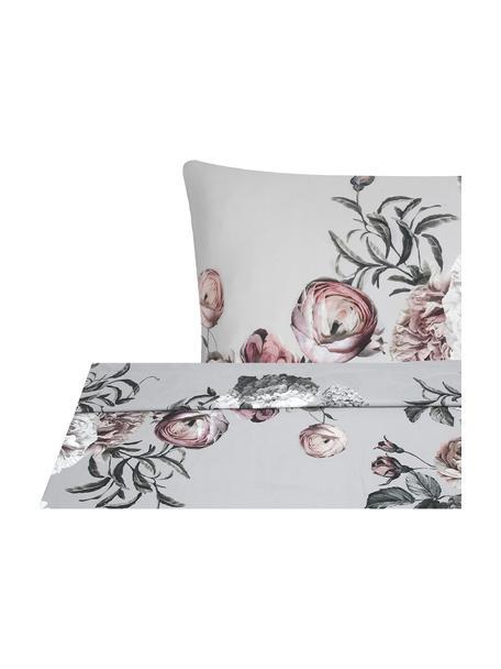 Sábana encimera de satén Blossom, Gris, Cama 150/160 cm (240 x 270 cm)
