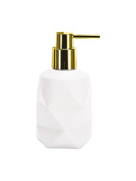 Dosificador de jabón de poliresina Crackle, Recipiente: poliresina, Dosificador: metal, Blanco, Ø 8 x Al 17 cm