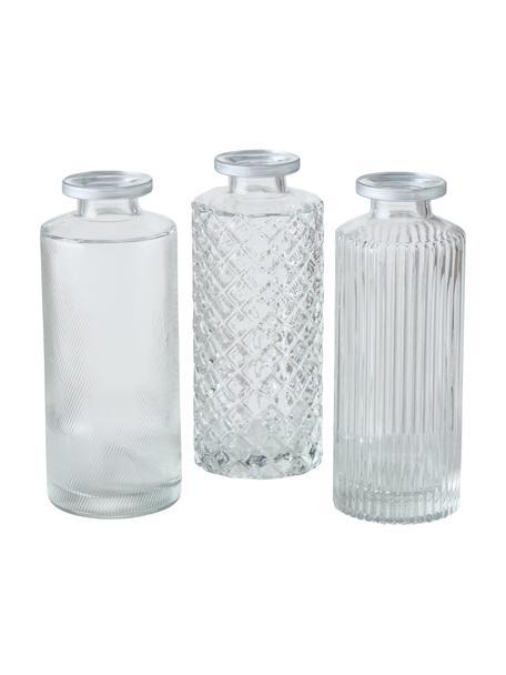 Komplet małych wazonów ze szkła Adore, 3 elem., Szkło, Transparentny, Ø 5 x W 13 cm