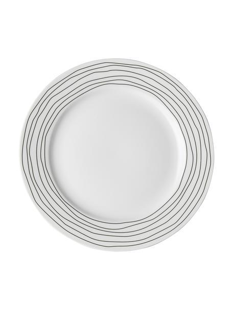 Set van 4 ontbijtborden Eris Loft met lijnversiering, Porselein, Wit, zwart, Ø 21 x H 2 cm