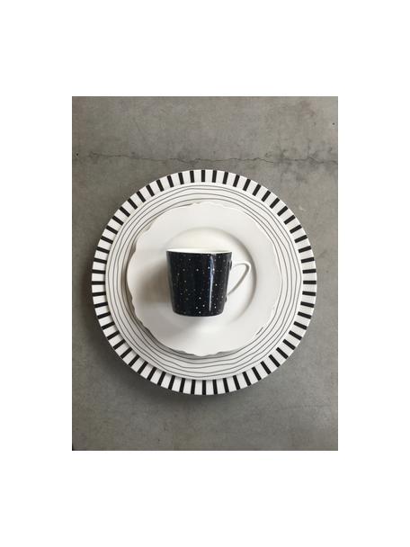 Platos postre Eris Loft, 4uds., Porcelana, Blanco, negro, Ø 21 x Al 2 cm