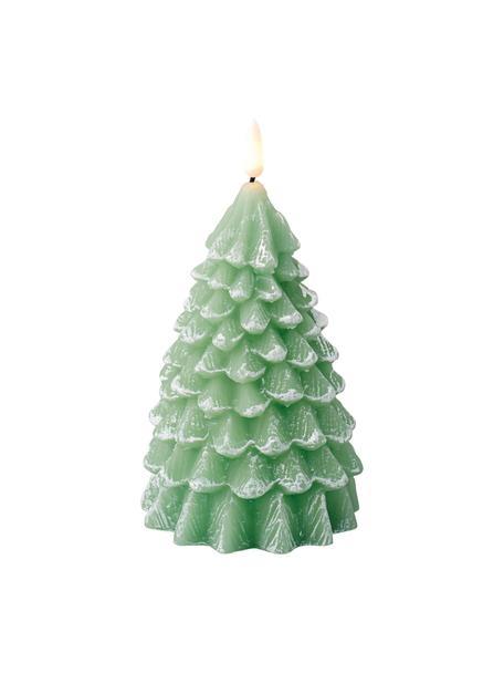 Świeca LED z wosku zasilana na baterie Linda, Wosk, Zielony, biały, Ø 10 x W 18 cm