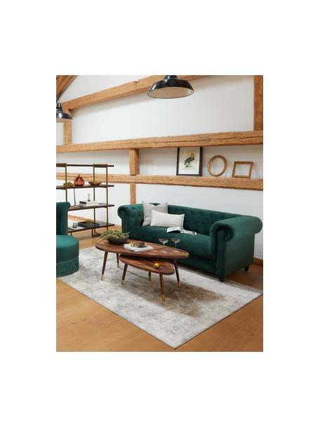 Fluwelen Chesterfield bank Chester (2-zits) in groen, Bekleding: polyester fluweel 20.000 , Poten: massief eikenhout en gela, Fluweel bosgroen, 186 x 94 cm