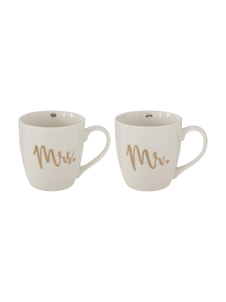 Set de Tazas de café Mr Mrs, 2uds., Porcelana New Bone China, Blanco, dorado, Ø 10 x Al 10 cm