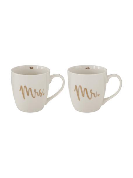 Set de tazas Mr Mrs, 2uds., Porcelana New Bone China, Blanco, dorado, Ø 10 x Al 10 cm