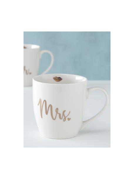 Tassen Mr Mrs mit Aufschrift, 2er-Set, New Bone China, Weiss, Goldfarben, Ø 10 x H 10 cm