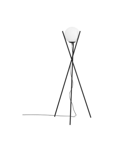 Tripod vloerlamp Salvezinas, Lampenkap: opaalglas, Lampvoet: gecoat staal, Wit, zwart, Ø 28 x H 150 cm