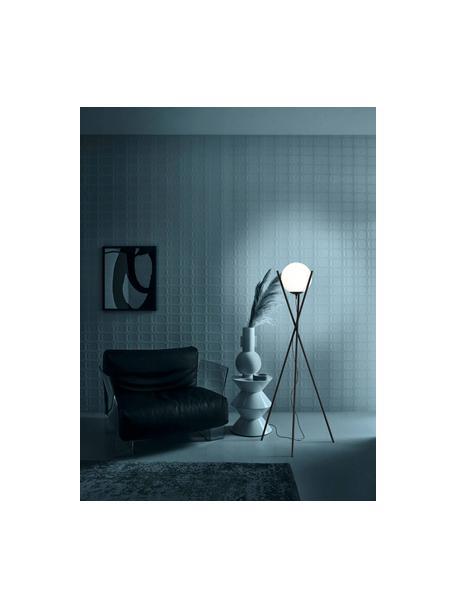Lampada da terra treppiede Salvezinas, Paralume: vetro opale, Base della lampada: acciaio rivestito, Bianco, nero, Ø 28 x Alt. 150 cm